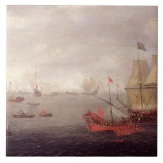 Two Dutch Men o'War Accompanied by Ottoman State B Large Square Tile