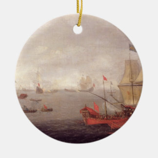 Two Dutch Men o'War Accompanied by Ottoman State B Round Ceramic Decoration