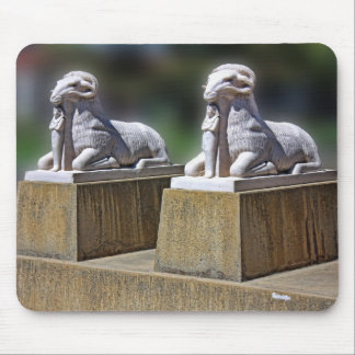 two Egyptian ram statues, on a mousepad