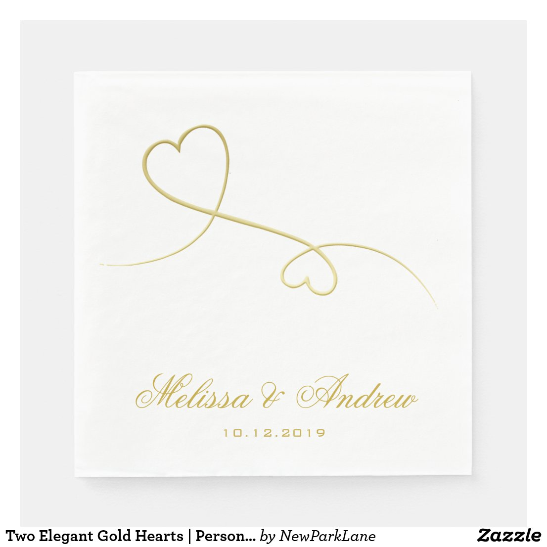 Two Elegant Gold Hearts | Personalised Wedding Paper Napkin