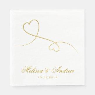 Two Elegant Gold Hearts | Personalised Wedding Paper Napkin