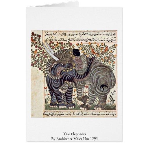Two Elephants By Arabischer Maler Um 1295 Cards