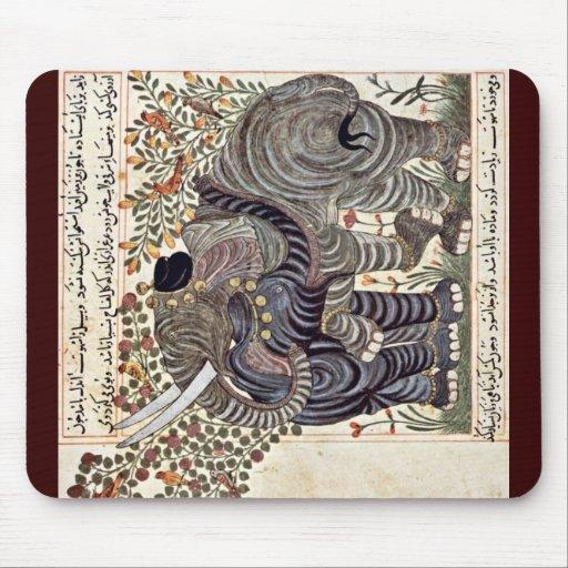 Two Elephants By Arabischer Maler Um 1295 Mousepads