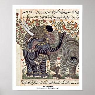 Two Elephants By Arabischer Maler Um 1295 Poster