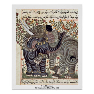 Two Elephants By Arabischer Maler Um 1295 Posters