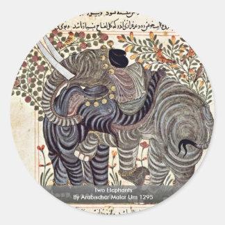Two Elephants By Arabischer Maler Um 1295 Sticker