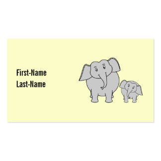 Two Elephants. Cute Adult and Baby Cartoon. Pack Of Standard Business Cards