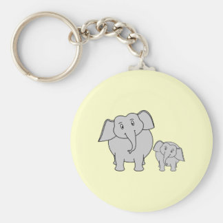 Two Elephants. Cute Adult and Baby Cartoon. Key Ring