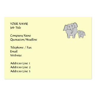 Two Elephants. Cute Adult and Baby Cartoon. Pack Of Chubby Business Cards