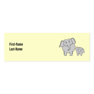 Two Elephants. Cute Adult and Baby Cartoon. Pack Of Skinny Business Cards
