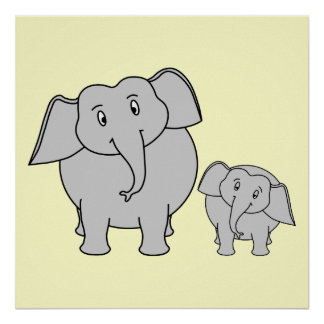Two Elephants. Cute Adult and Baby Cartoon. Poster