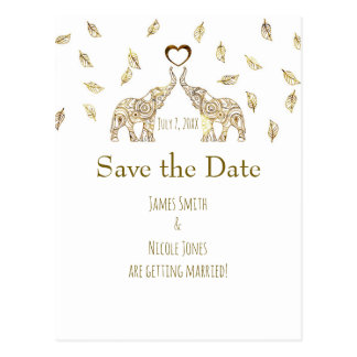 Two Elephants Gold Fall Wedding Save The Date Postcard