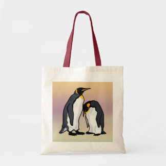 two emperor penguins tote bag