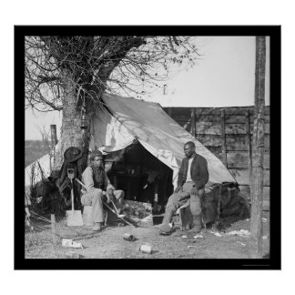 Two Escaped Slaves Sitting in a Tent 1863 Poster