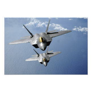 Two F-22 Raptors fly over the Pacific Ocean 2 Photo Art