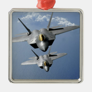 Two F-22 Raptors fly over the Pacific Ocean Christmas Ornament