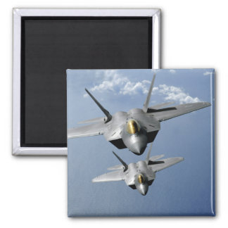 Two F-22 Raptors fly over the Pacific Ocean Square Magnet