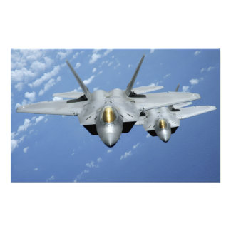 Two F-22 Raptors fly over the Pacific Ocean Photo Print