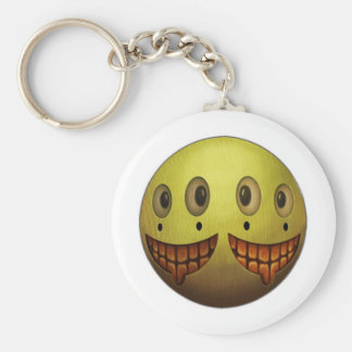 Two Face Grin Basic Round Button Key Ring