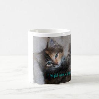 Two faced cat coffee mug