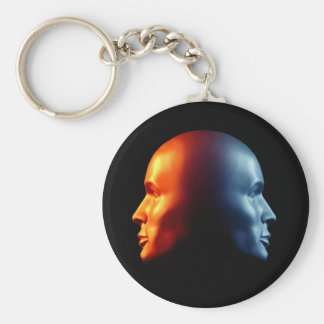 "Two-Faced ""Janus"" Head Key Chain"