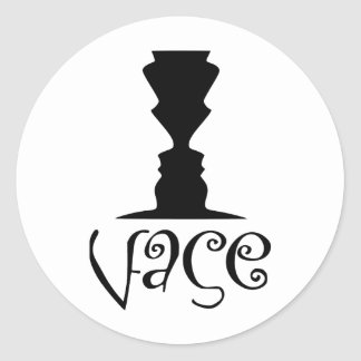 Two Faces or Vase Optical Illusion Classic Round Sticker