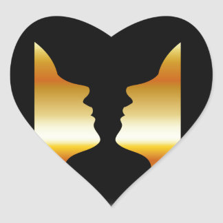 Two faces side by side with illusion of a vase heart sticker