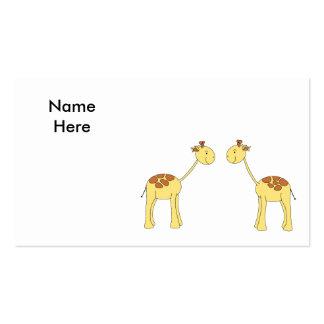 Two Facing Giraffes. Cartoon Business Card Template