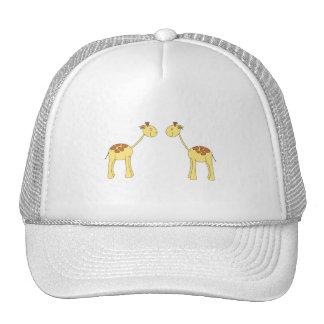 Two Facing Giraffes. Cartoon Mesh Hat
