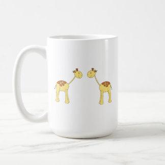 Two Facing Giraffes. Cartoon Coffee Mugs