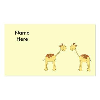 Two Facing Giraffes. Cartoon Pack Of Standard Business Cards