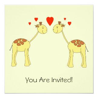 Two Facing Giraffes with Hearts. Cartoon. 13 Cm X 13 Cm Square Invitation Card