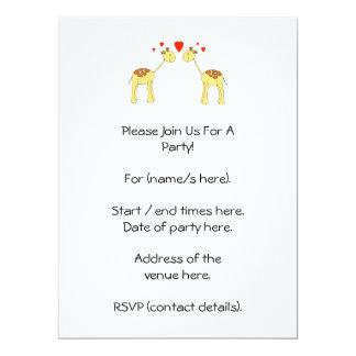 Two Facing Giraffes with Hearts. Cartoon. 17 Cm X 22 Cm Invitation Card
