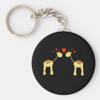Two Facing Giraffes with Hearts. Cartoon. Basic Round Button Key Ring