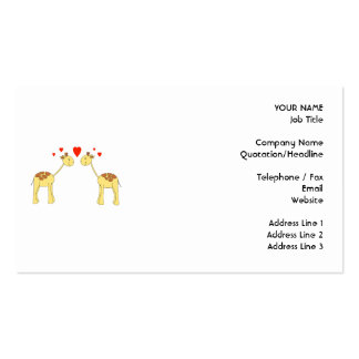Two Facing Giraffes with Hearts. Cartoon. Business Card Templates