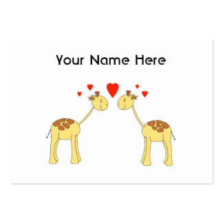Two Facing Giraffes with Hearts. Cartoon. Pack Of Chubby Business Cards