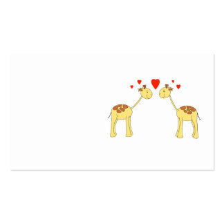 Two Facing Giraffes with Hearts. Cartoon. Business Cards