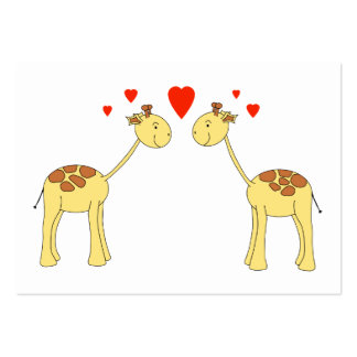 Two Facing Giraffes with Hearts. Cartoon. Business Card Template