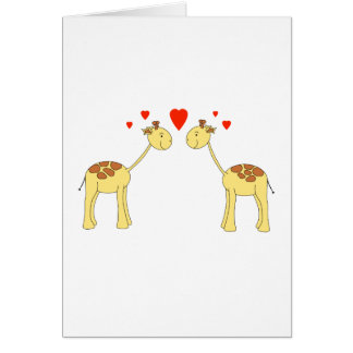 Two Facing Giraffes with Hearts. Cartoon. Note Card