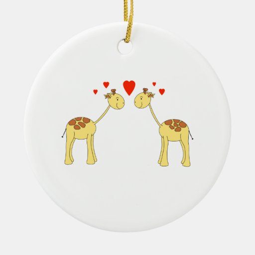 Two Facing Giraffes with Hearts. Cartoon. Ornament
