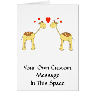 Two Facing Giraffes with Hearts. Cartoon. Greeting Card