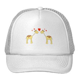Two Facing Giraffes with Hearts. Cartoon. Mesh Hats