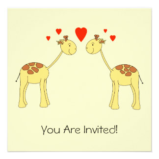 Two Facing Giraffes with Hearts. Cartoon. Custom Announcements
