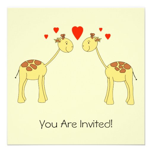 Two Facing Giraffes with Hearts. Cartoon. Custom Announcements