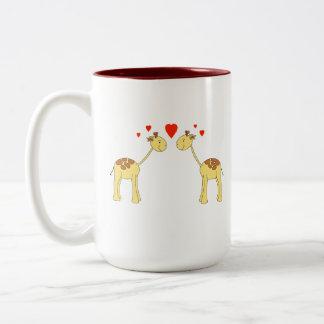 Two Facing Giraffes with Hearts. Cartoon. Coffee Mug