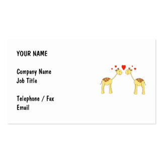 Two Facing Giraffes with Hearts. Cartoon. Pack Of Standard Business Cards