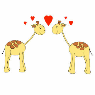 Two Facing Giraffes with Hearts. Cartoon. Photo Sculpture Key Ring