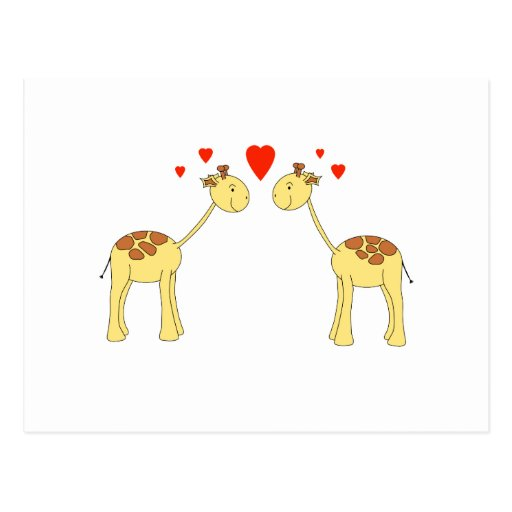Two Facing Giraffes with Hearts. Cartoon. Post Card