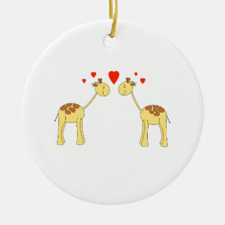 Two Facing Giraffes with Hearts. Cartoon. Round Ceramic Decoration