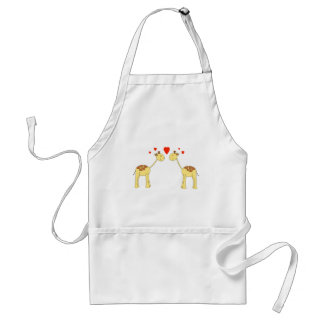 Two Facing Giraffes with Hearts. Cartoon. Standard Apron